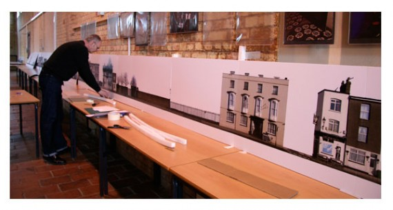 Setting up the photographic model of the High Street.